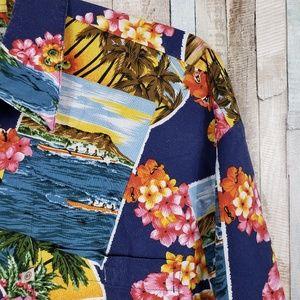 Robert Stock Hawaiian Print Button Down Size L
